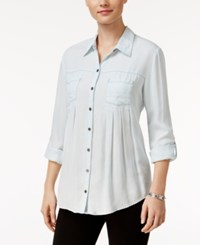 Styleandco. Style Co. Petite Denim Roll Tab Shirt Only At Macy's Snow Wash