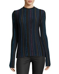 Nina Ricci Metallic Striped Knit Sweater Multi Multi Pattern