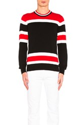 Givenchy Light Gauge Stripe Sweater In Black Stripes Red Black Stripes Red