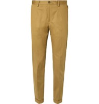 Dolce And Gabbana Slim Fit Stretch Cotton Trousers Tan