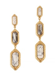 Isharya 18Kt Gold Plated Agate Drop Earrings Black And White