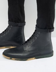 Asos Lace Up Boots In Black Leather With Camo Sole Black