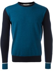 Canali Contrast Sleeve Jumper Blue