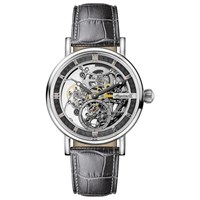 Ingersoll Men's The Herald Skeleton Automatic Leather Strap Watch Grey Silver