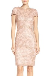 Tadashi Shoji Women's Lace Sheath Dress Powder Gold