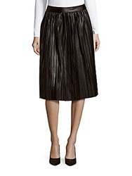 Saks Fifth Avenue Red Pleated Faux Leather Skirt Black