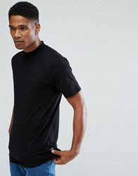 Only And Sons T Shirt With High Neck Curved Hem Details Black