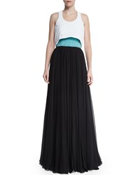Prabal Gurung Strapless Emb Bustier Gown Turquoise