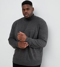 Jacamo Plus Roll Neck Knitted Jumper In Grey