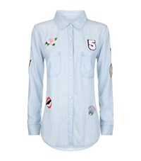 Rails Carter Embroidered Patches Denim Shirt Blue