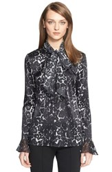 Women's St. John Collection Leopard Print Silk Charmeuse Blouse With Scarf