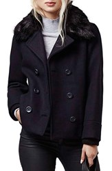 Women's Topshop Faux Fur Double Breasted Peacoat