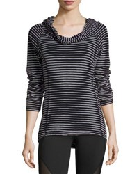 Andrew Marc New York Striped Long Sleeve Hooded Tee Blk Wht