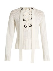 Joseph Lace Front Cashmere Sweater Ivory