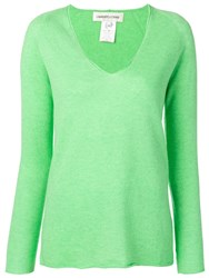 Lamberto Losani Knitted V Neck Jumper Green