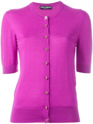 Dolce And Gabbana Fitted Cardigan Pink Purple