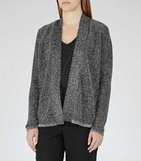 Reiss Claudine Womens Metallic Open Front Cardigan In Black