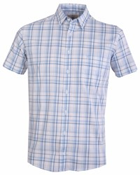 Double Two Men's Short Sleeve Check Casual Shirt Blue