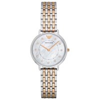 Emporio Armani Ar2508 Women's Crystal Two Tone Bracelet Strap Watch Silver Rose Gold
