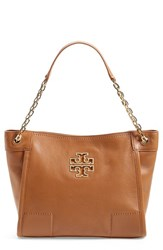 Tory Burch 'Small Britten' Leather Slouchy Tote Brown Bark