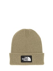 The North Face Logo Box Cuffed Acrylic Blend Beanie Olive Green