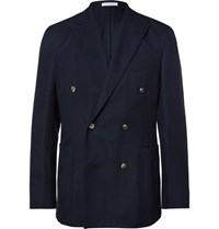 Boglioli Blue Slim Fit Double Breasted Wool Hopsack Blazer Navy