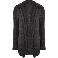 River Island Mens Dark Grey Knit Open Hooded Cardigan