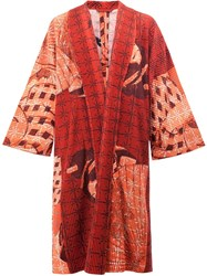 Homme Plisse Issey Miyake Abstract Print Kimono Coat Red