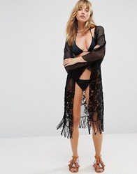 Liquorish Fringed Crochet Longline Beach Kimono Black