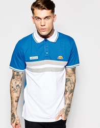 Ellesse Polo Shirt With Chest Stripes Whiteblue