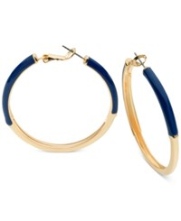 Guess Gold Tone Blue Enamel Color Block Hoop Earrings