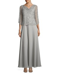 J Kara Sequined Popover Gown Silver