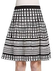 Saks Fifth Avenue Flared Geo Pattern Knit Skirt Ivory