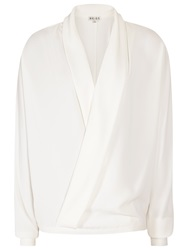 Reiss Ivy Wrap Front Top Off White