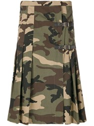 Amen Camouflage Print Kilt Cotton Green