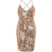 River Island Gold Sequin Strappy Back Bodycon Dress