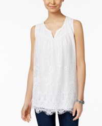 Style And Co Lace Scalloped Hem Top Only At Macy's Bright White