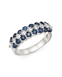 Bloomingdale's Diamond And Sapphire Band Ring In 14K White Gold Blue White