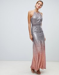 Little Mistress High Neck Allover Ombre Sequin Maxi Dress In Rose Multi