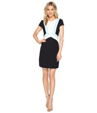 Vince Camuto Crepe Cap Sleeve Color Block Shift Dress Navy Blue Women's Dress