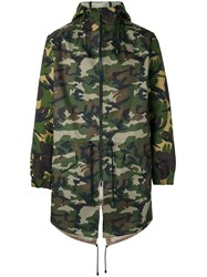Lc23 Camouflage Hooded Coat Men Polyester L Green