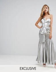 Fame And Partners Fitted Maxi Dress With Tie Front Detail Silver