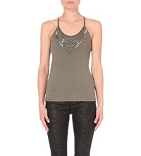 Karen Millen Beaded Sleeveless Jersey Top Khaki Olive