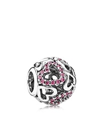 Pandora Design Pandora Charm Sterling Silver And Cubic Zirconia Falling In Love Moments Collection Silver Pink