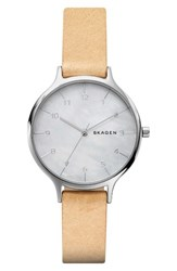 Skagen Women's Anita Leather Strap Watch 36Mm Nude Mother Of Pearl Silver