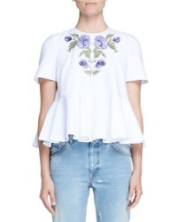 Alexander Mcqueen Floral Embroidered Pique Peplum Top White