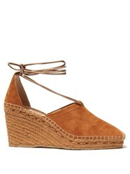 Jimmy Choo Dulce 90 Suede Espadrille Wedges Tan Gold
