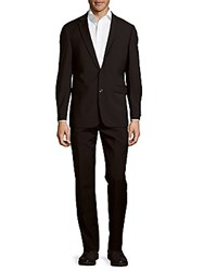 Vince Camuto Solid Notched Lapel Wool Suit Black
