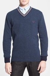 Fred Perry Slim Fit V Neck Tennis Sweater Blue