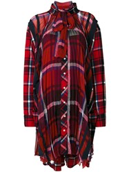 Sacai Checked Pussy Bow Dress Cotton Polyester Red